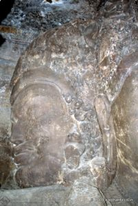 Aghora Bhairava face of Shiva in the Trimurti of Cave 1