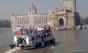Boat returning to the Gateway of India ferry point from Elephanta Island.