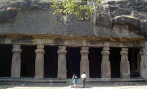 Entrance to the cave 3 in Elephanta
