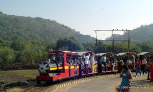There is a toy train on the pier at Elephanta that operate between the ferry point and the place where the accent to the hilltop starts.