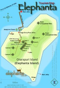 Elephanta Island Map with the caves and other attractions