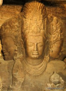 The  star attraction of Elephanta Cave temple is the iconic image of the three headed Shiva called Mahesh , the great Lord.