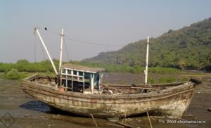Ruined Fishing boat in Elephanta